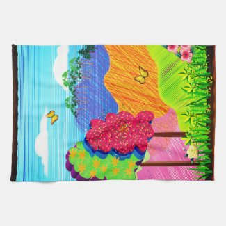 Mythical Landscape on Kitchen Towel