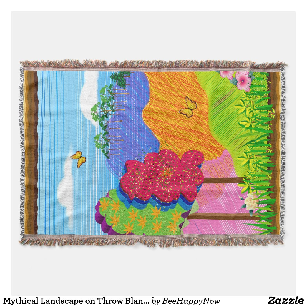 Mythical Landscape on Throw Blanket