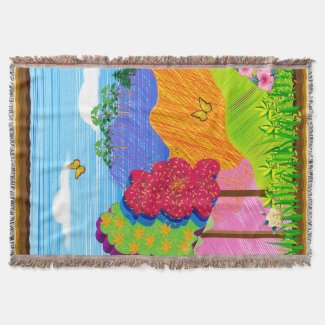 Mythical Landscape on Throw Blanket