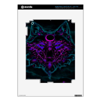 Mythical Neon Teal Wolf Decals For iPad 3