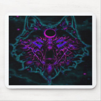 Mythical Neon Teal Wolf Mouse Pad