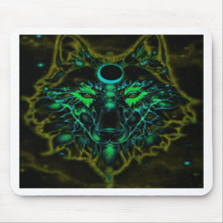 Mythical Neon Yellow Wolf Mouse Pad