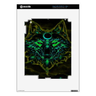Mythical Neon Yellow Wolf Skins For iPad 2