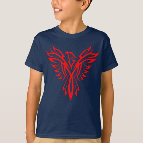 Mythical Phoenix Bird Rising Logo Red T_Shirt