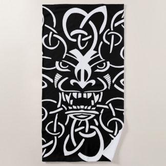 Mythical tiki mask ethnic design beach towel