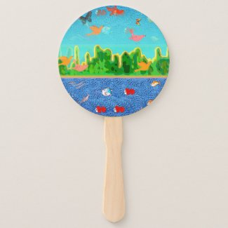 Mythical Urban Landscape Hand Fan
