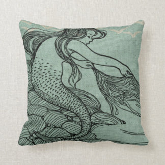 Mythical Young Mermaid Aqua Blue Sea Shore Scene Throw Pillows
