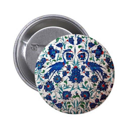Mythological Heron Bird Design Tile Art 2 Inch Round Button