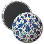 Mythological Heron Bird Pattern Tile Art 2 Inch Round Magnet