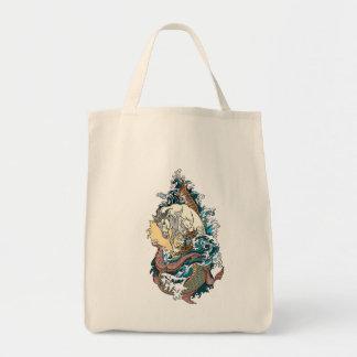 mythological sea horse tote bag