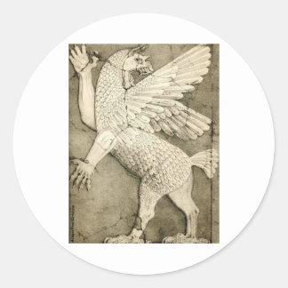 Mythological Winged Figure Classic Round Sticker
