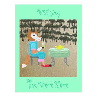 Mz. Fox Has Tea By The Palm Trees Postcard