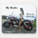 """Mz Heather """"Ride to live Live to ride"""" mouse pad"""