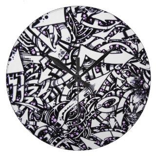 mzobcn wanduhr design graffiti reloj redondo grande