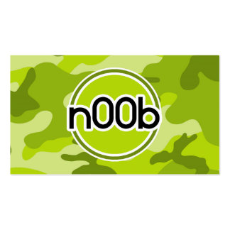 n00b; bright green camo, camouflage business cards