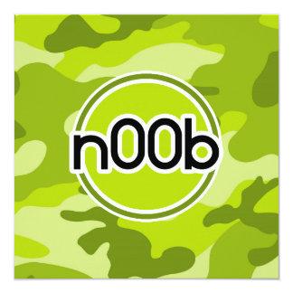 n00b; bright green camo, camouflage invite