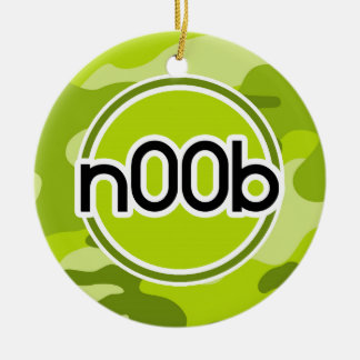 n00b; bright green camo, camouflage Double-Sided ceramic round christmas ornament