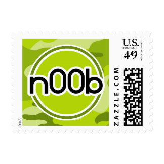 n00b; bright green camo, camouflage stamp