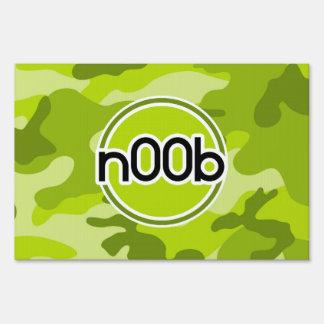 n00b; bright green camo, camouflage yard sign