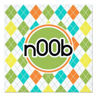 n00b; Colorful Argyle Pattern Custom Invitations