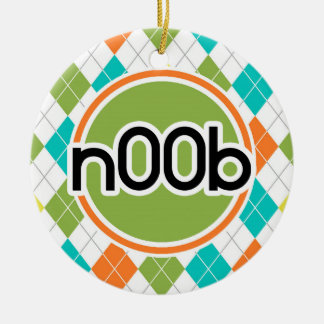 n00b; Colorful Argyle Pattern Double-Sided Ceramic Round Christmas Ornament