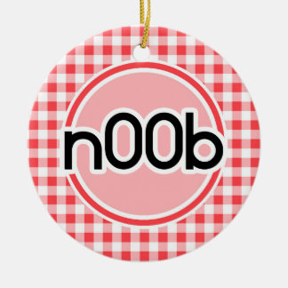 n00b; Red and White Gingham Double-Sided Ceramic Round Christmas Ornament