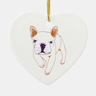n014: french bulldog ceramic ornament