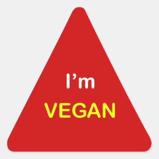 n2 - ~ alerta de la comida soy VEGAN. Pegatina Triangular