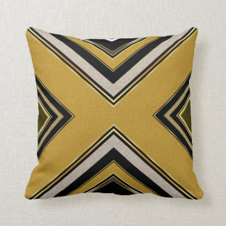 n2 Geometry Art Deco Black Gold Cushion Pillow