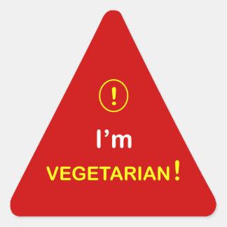 n3 - Food Alert ~ I'M VEGETARIAN. Triangle Sticker