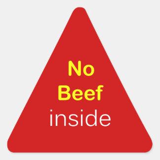 n44 - Food Label ~ NO BEEF INSIDE. Triangle Sticker