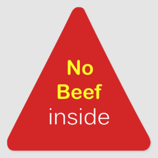 n44 - Food Label ~ NO BEEF INSIDE. Triangle Sticker