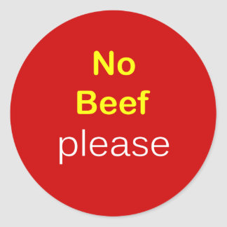 n64 - Food Request ~ NO BEEF PLEASE. Classic Round Sticker