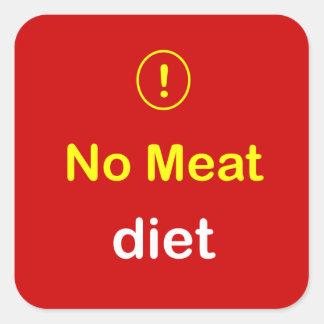 n6 - Food Alert ~ NO MEAT Diet. Square Sticker
