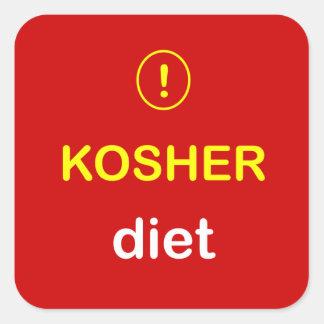 n8 - Food Alert ~ KOSHER DIET. Square Sticker