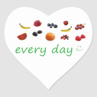 n90 - Health Reminder ~ Fruit Every Day. Heart Sticker