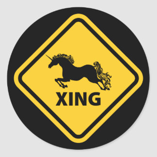 N.A.U.B Unicorn Crossing Sign Classic Round Sticker
