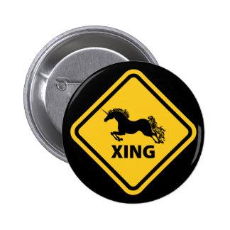 N.A.U.B Unicorn Crossing Sign Pinback Button