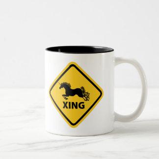 N.A.U.B Unicorn Crossing Sign Two-Tone Coffee Mug