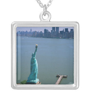 N.A., USA, New York, New York City. The Statue Silver Plated Necklace