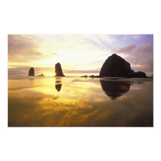 N.A., USA, Oregon, Cannon Beach Sunset with Photo Print