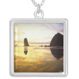 N.A., USA, Oregon, Cannon Beach Sunset with Square Pendant Necklace