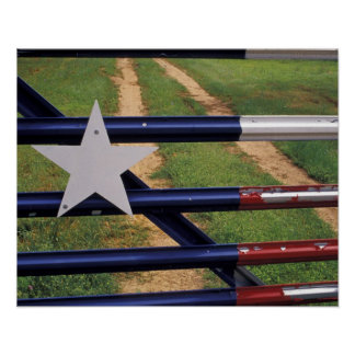 N.A., USA, Texas, Lake Buchanan, Texas flag Poster