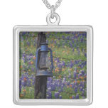 N.A., USA, Texas, Llano, Blue Lantern and Square Pendant Necklace