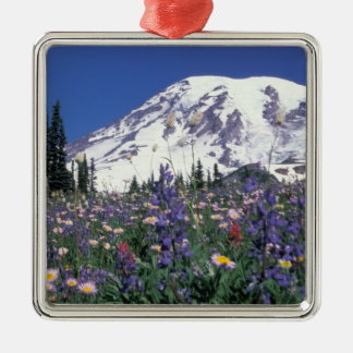 N.A., USA, Washington Mt. Rainier and Square Metal Christmas Ornament
