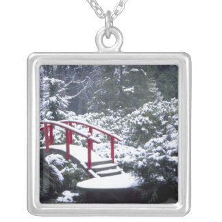 N.A., USA, Washington, Seattle. Moon bridge in Silver Plated Necklace