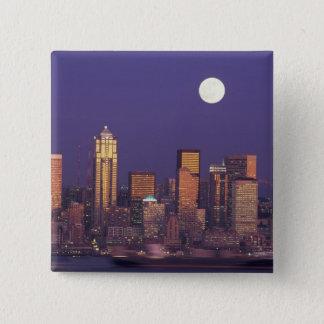 N.A., USA, Washington, Seattle Seattle skyline Pinback Button