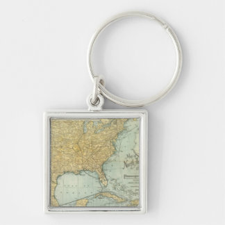 N America, W Europe passenger lines Silver-Colored Square Keychain