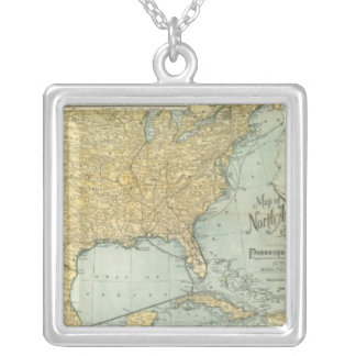 N America, W Europe passenger lines Square Pendant Necklace