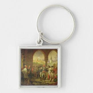 N. Bonaparte que visita la plaga pegada de Llavero Cuadrado Plateado